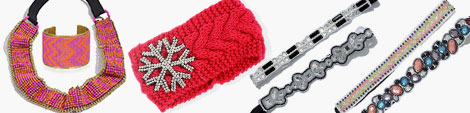 Snowflake, woolen, gemstone and beads headbands with matching cuff.