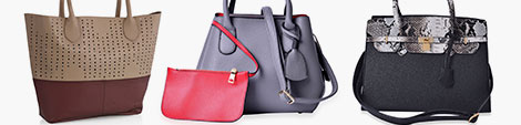 Multicolored handbags for women.