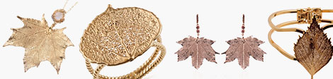 See Nature's D'Or Maple leaf pendant, Rose leaf ring, Maple leaf earrings and Birch leaf bangle.