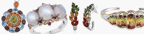 rainbow gems pendant, ring, J-hoop earrings and cuff in sterling silver.
