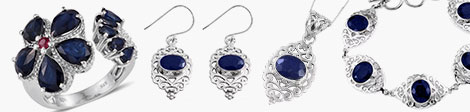Discover blue sapphire open ring, earrings, pendant and bracelet at Shop LC.