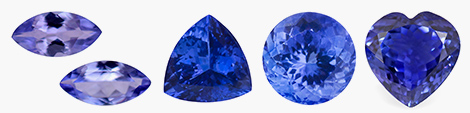 Explore loose tanzanite gemstones in set of 2 marquise, trillion, round and heart shape.