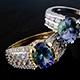 Bondi blue tanzanite set of two rings.