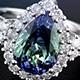 Bondi blue tanzanite pear shape ring in sterling silver.