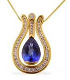 Gold necklace with purple stone for 50th anniversary.