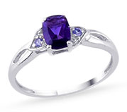Silver ring with purple stone for 25th anniversary.