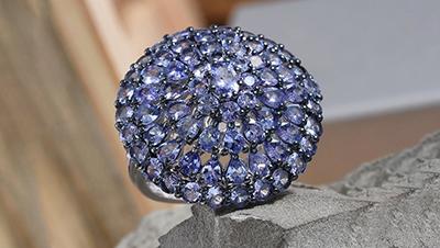 Tanzanite Cluster Ring.